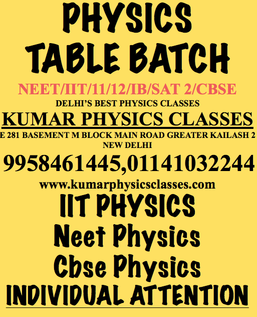 Afraid Of Physics Of Neet And IIT Why? Students those preparing for IIT and NEET are afraid of physics because of the fact their concepts are not up to the mark, and they just go with guess in their Physics Mcq's. For Physics just try to clear your concepts first think about it practically or imagine it and register in your mind with some logic. Physics is the only subject where you have to focus in very significant manner and question yourself why it is happening once you get the answer it means your fundamentals of physics started clearing. Suppose for example if you are solving physics problems of newtons law, so it is evident that the weight is acting downward but as far as pseudo force is concerned that depends upon the motion hence you should know by doing some questions how do we apply it. Now we consider Neet physics we see that questions are not very difficult but smart for that one should clear in their physics fundamental concepts and if its mathematical skills still not right, he will be able to solve and make these types of questions quickly. But in case of IIT Physics, your mathematical skills should be solid then only then you will be able to solve these types of questions because questions are involved in differentiation and integration application. Do You Worry about physics and not able to do typical physics problem and physics concepts related hassle. Please do join Kumar sir placed at Kumar Physics Classes (9958461445) at GK 2 New Delhi teaching Physics from numerous years and teaching asas per your requirement and schedule for IIT PHYSICS, NEET PHYSICS and Cbse Physics.  Physics Tutor In Gk 2,physics classes in gk 2,physics tutor in kalkaji,physics classes in kalkaji,physics tutor in c r park,physics classes in c r park,physics classes in amar colony ,physics tutor at amar colony,physics tutor in dyananad colony,physics tutor at hauz khas,Physics Tutor In Gk 2,physics classes in gk 2,physics tutor in kalkaji,physics classes in kalkaji,physics tu