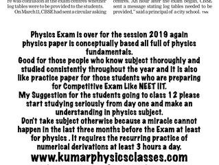 Cbse Physics Paper Review 2019-Physics Classes In Delhi