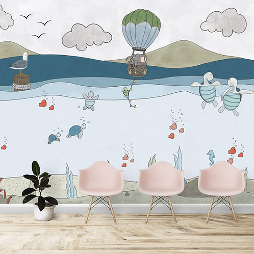 Sea animals theme Kids room wallpaper
