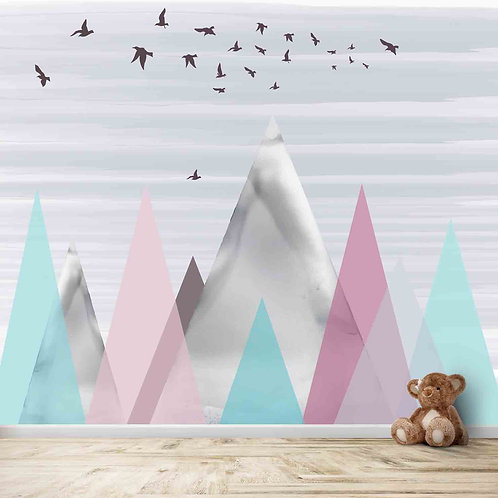 Water painted colourful Mountains, scenery theme for kids room