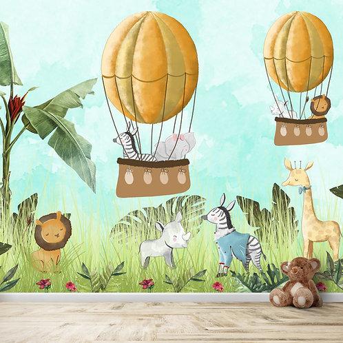 Cute jungle animals in balloon wallpaper