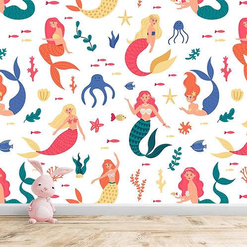 Aquatic Theme Wallpaper, Customised Mermaid Design