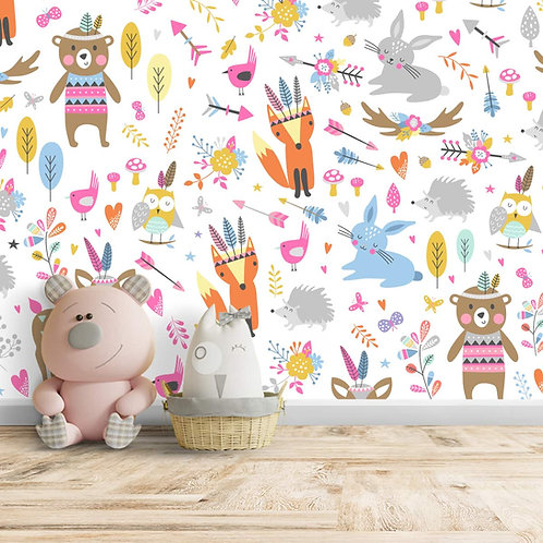 Tribal Pattern for Kids Room, Customised Animal Repeat Wallpaper for Walls