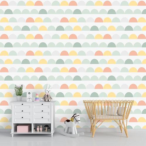Pastel Pattern Wallpaper Customised for Kids Room