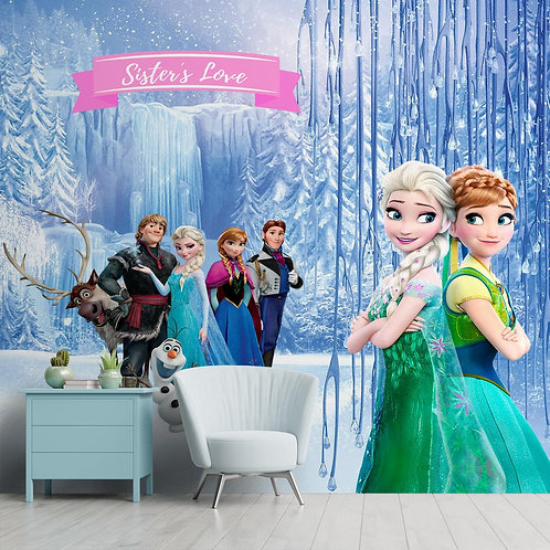 Colorful Anna and Elsa Wallpaper for Kids