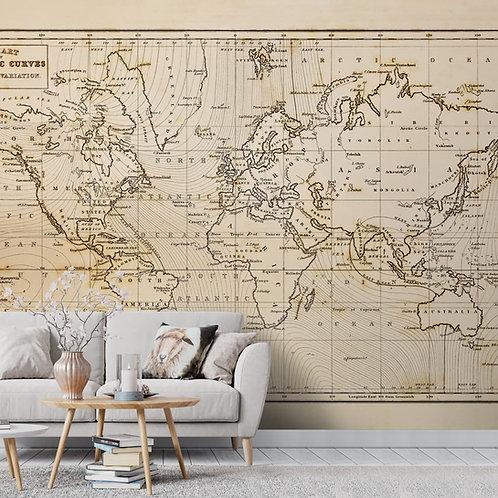 Vintage Detailed World Map Wallpaper