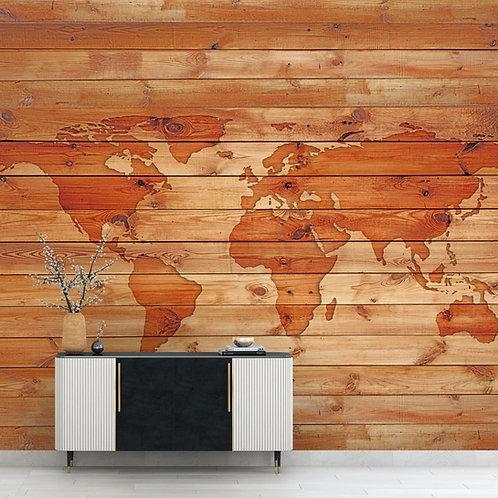 Vintage World Map, Wooden Look Wallpaper