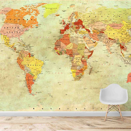 Vintage look world map, best decor for kids room and offices