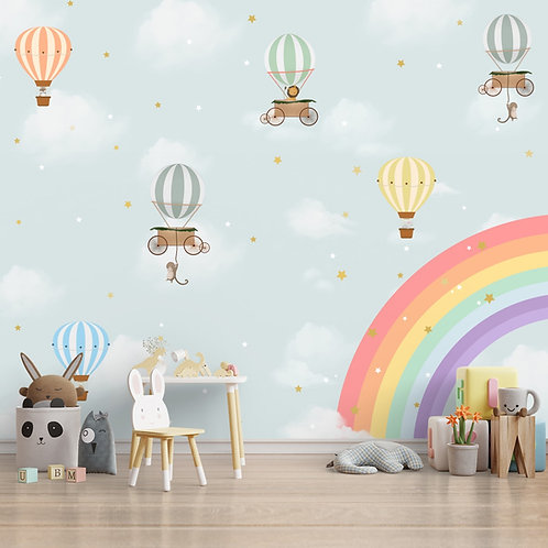Rainbow & Hot Air Balloons Themes Children Room Wall Designs