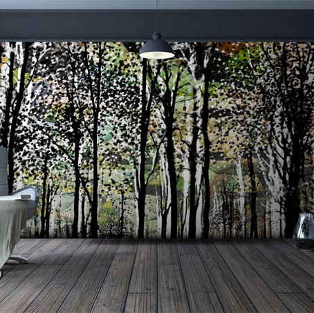 lifencolors-wallpaper-leaves-forest-abstract-painting-bedroom-livingroom