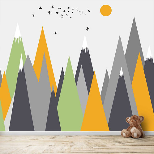 Solid yellow, Grey and Green Mountains theme for Kids room