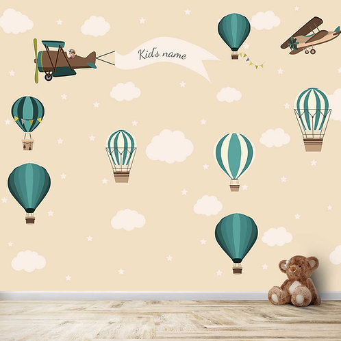 Personalised Gliders, Planes, and Hot Air Balloon Wallpaper for Kids Room