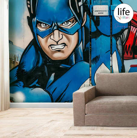 Life N Colors Superhero themed wallpapers for kid's rooms