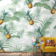 Tropical pineapple wall paper for walls