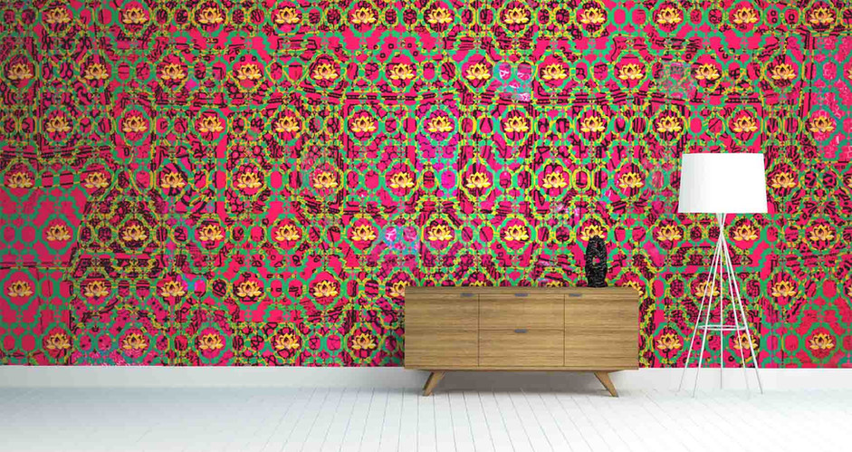 LifeNcolors-Damask-pattern-wallpapers-pink-lotus-abstract