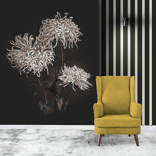 Black and White Floral Painting Wallpaper