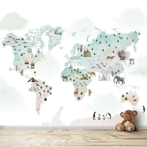 World Map, water paint, For Kids room