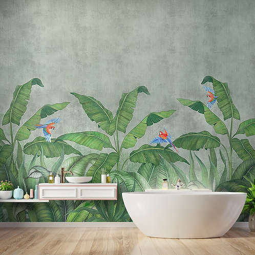Tropical Green Forest, Customised Digitally Painted Design