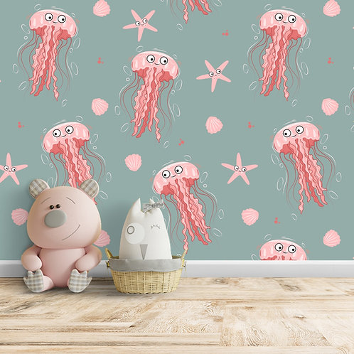 Cute Jellyfish Repeat Pattern Wallpaper