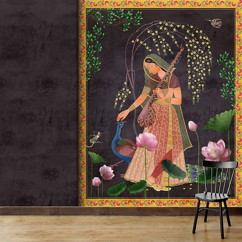 Radha Indian Painting Themed Wall Mural
