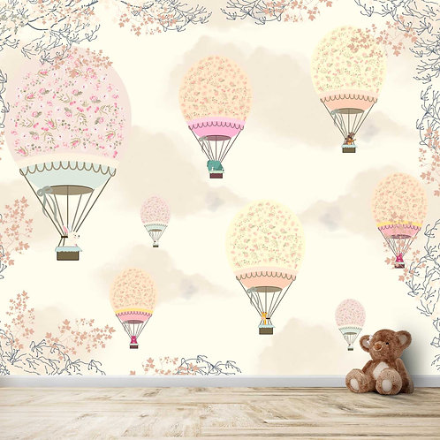 Hot Air Balloons with floral pattern for Kids Room