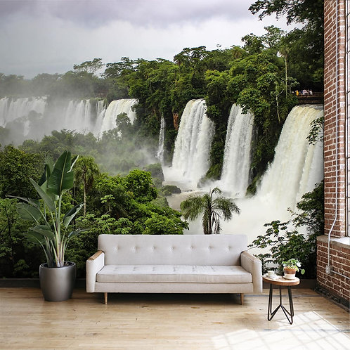 Waterfall in Dense Forest Wallpaper for Walls