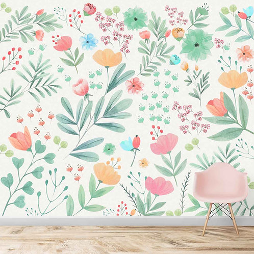 Water painted floral design, wall mural for kids room