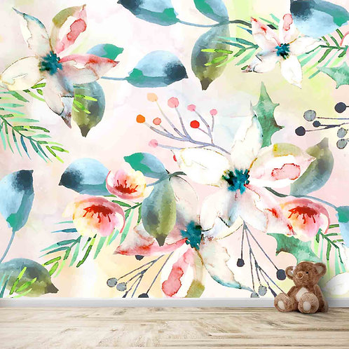 Water painted floral pattern wall mural