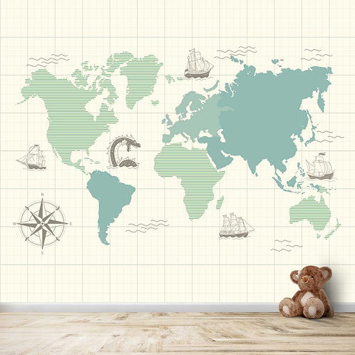 world Map with Ships for kids room