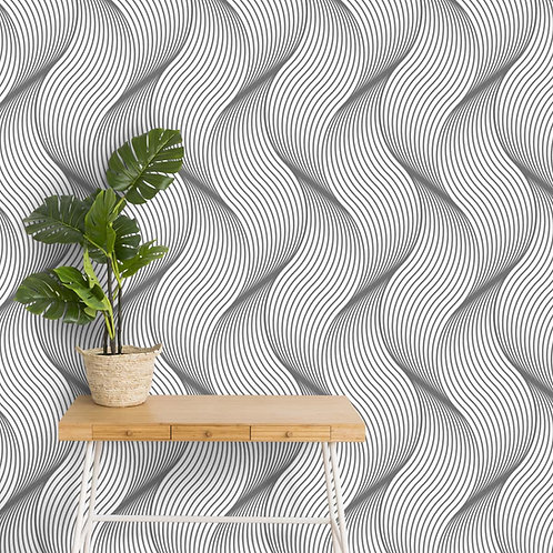 Customised 3D Look Abstract Wavy Wallpaper