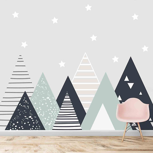 Mountains theme for kids room, Solid design, geometric pattern