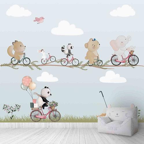 Cute animals print wallpaper design
