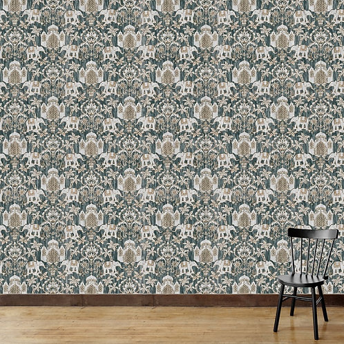 Pattern with elephants, forts and trees, textured design suitable for every room