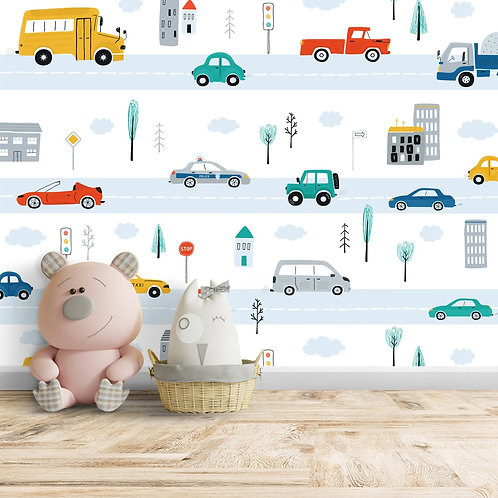 Kids Room Cars Theme Wallpaper by Life N Colors