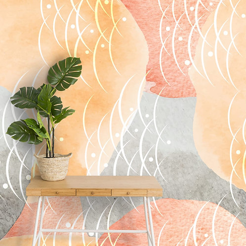 Abstract Water Color Effect, Paint Textured Customised Wallpaper
