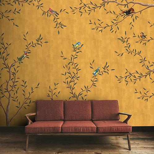 Birds on branches premium wallpaper