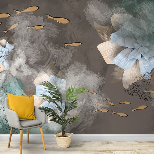 Abstract Floral Design, Customised Wallpaper