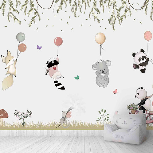 Flying cute animals wallpaper for kids