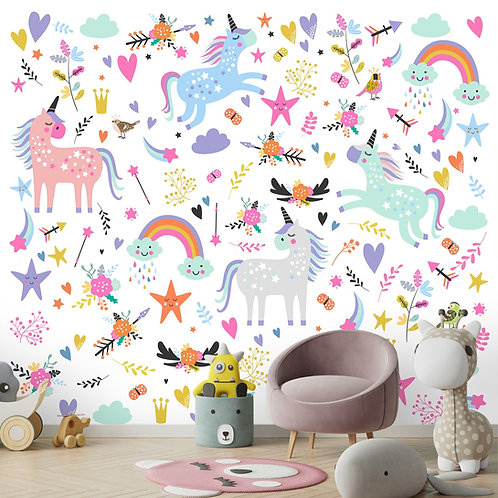 Unicorn wall mural, wallpaper for kids room,Best home decor ideas by lifencolors