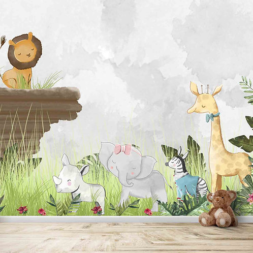 Jungle class room theme wall mural for kids room