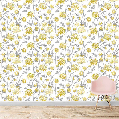 yellow Flower repeat pattern, wallpaper for all kinds of rooms