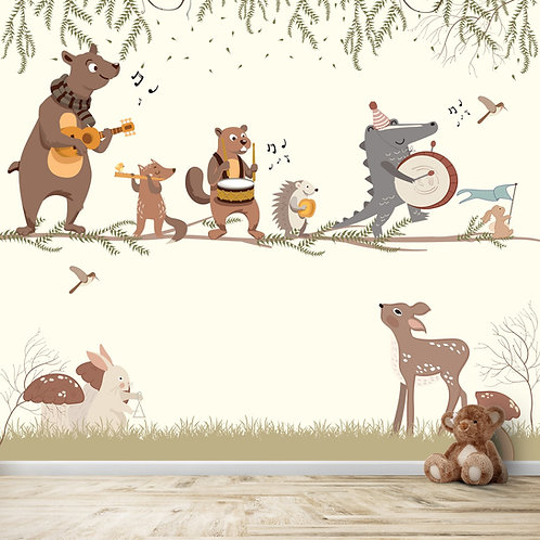 Animals playing musical instruments, wallpaper theme for kids room