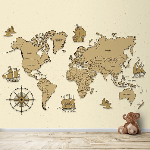 Vintage Worlds map for room walls