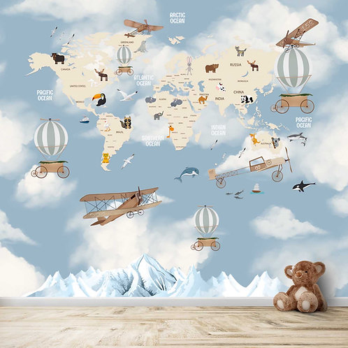 world Map with clouds and Gliders for Kids Room