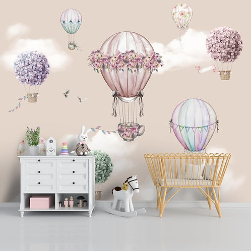 Beautiful floral hot air balloons wall mural for kids room