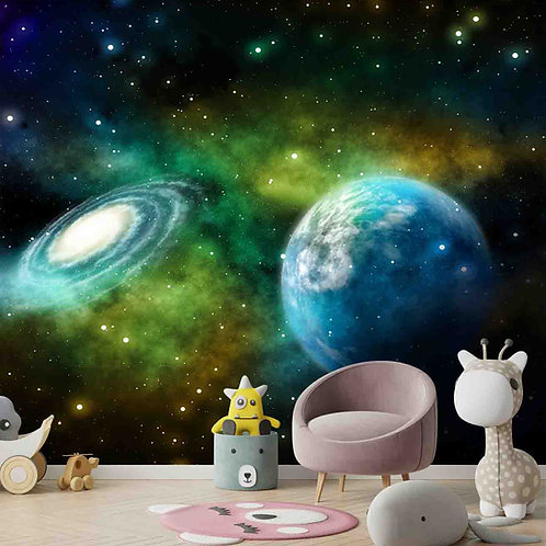 Galaxy theme wall mural for kids room