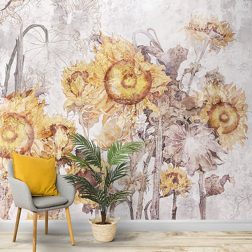 Abstract Sunflowers, Customised Wallpaper