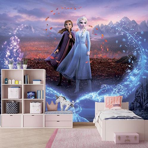 Anna and Elsa Frozen Wall Mural, Wallpaper for Kids Room