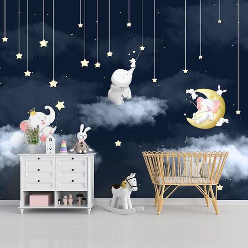 Elephants in Night Scene Kids Room Wallpaper
