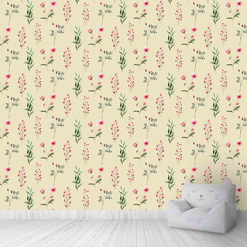 Floral repeat pattern for bedroom wallpaper